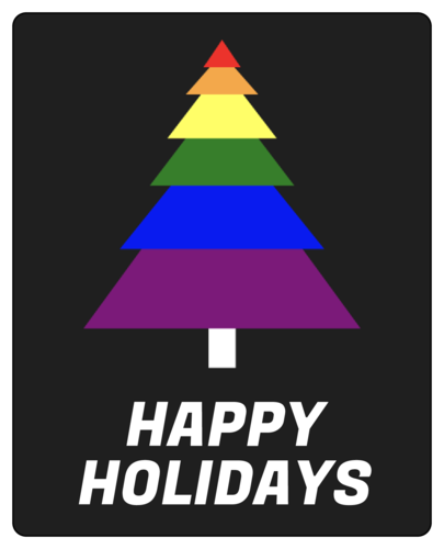 Happy holidays label with rainbow Christmas tree