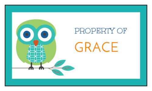 """""""Property of [Name]"""" pre-designed label template for school supplies"""