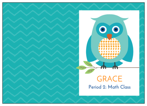 Composition book label template with big owl