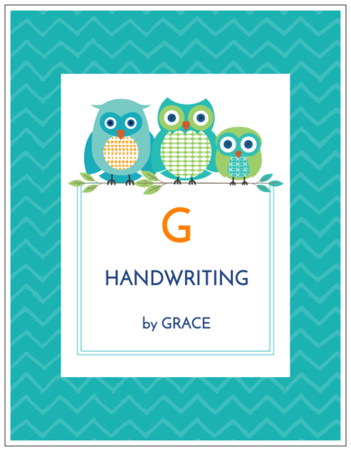Binder label template with cute family of owls