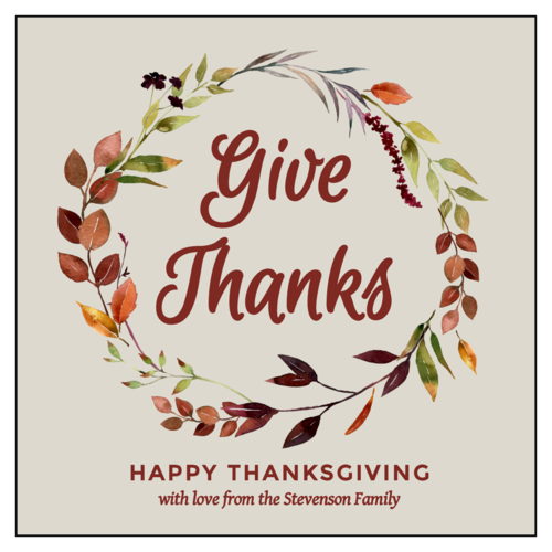 Thanksgiving/Autumn/Fall Label Template: floral wreath with give thanks text and Happy Thanksgiving