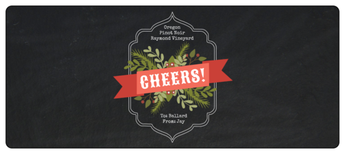 Cheers wraparound Christmas Bottle Label