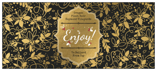Ornate holiday wine label