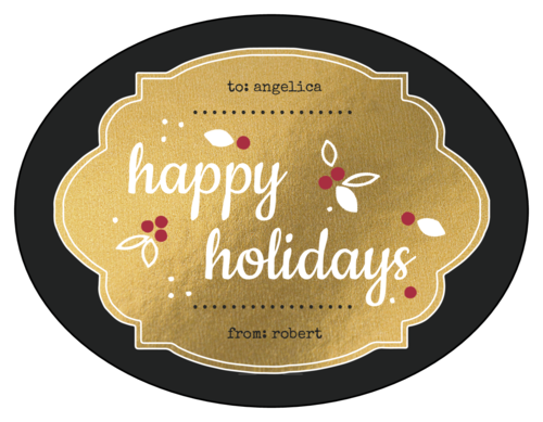 Golden happy holidays gift label
