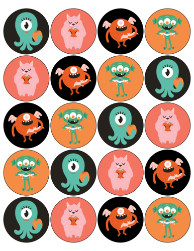 Spooky monster assorted Halloween circle party favor stickers free template