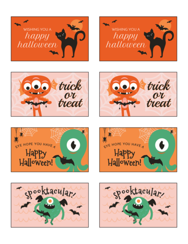 Free printable assorted cute monster Halloween gift tag labels