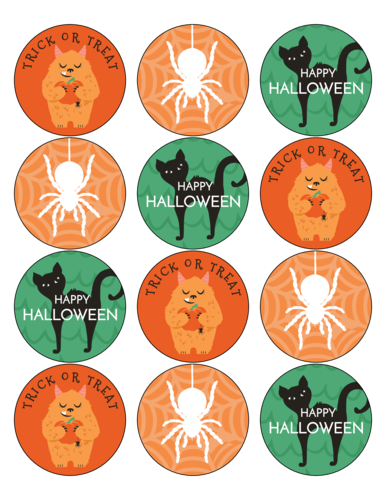 Assorted orange and green Halloween circle party favor stickers free template
