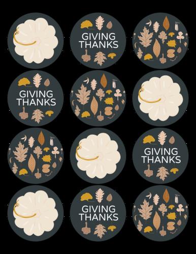 Autumn harvest sticker template for Thanksgiving decor