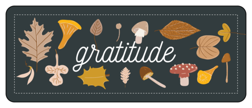 "Thanksgiving/Autumn/Fall Template: Autumn harvest ""gratitude"" party favor labels"