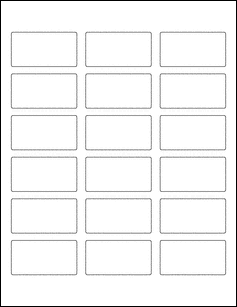 "Sheet of 2.375"" x 1.25"" Standard White Matte labels"
