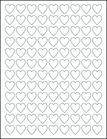 "Sheet of 0.75"" x 0.75"" Heart labels"