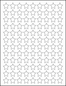 "Sheet of 0.75"" x 0.75"" Star White Gloss Laser labels"