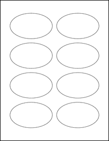 "Sheet of 3.33"" x 2"" Oval Standard White Matte labels"