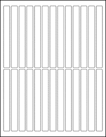 """Sheet of 0.5"""" x 5"""" Fluorescent Green labels"""