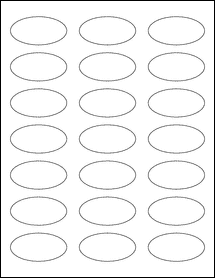 "Sheet of 2.25"" x 1.125"" Oval Aggressive White Matte labels"
