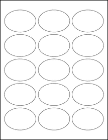 "Sheet of 2.5"" x 1.75"" Oval Removable White Matte labels"