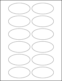 "Sheet of 3"" x 1.5"" Oval labels"