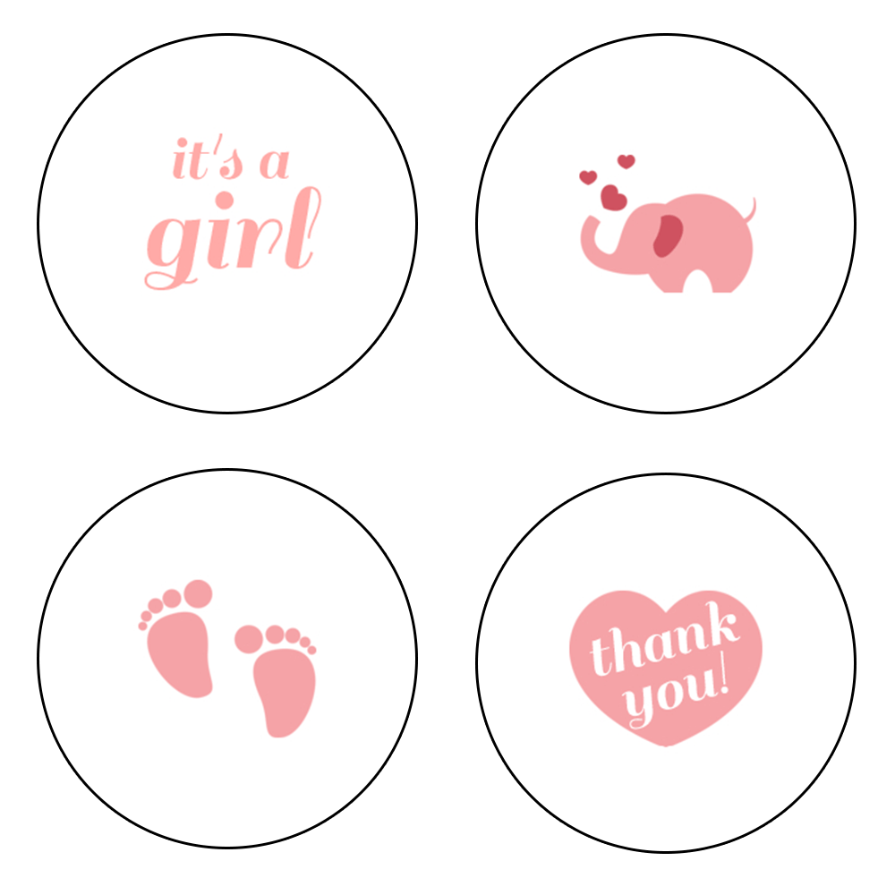 Pink assorted baby icon stickers