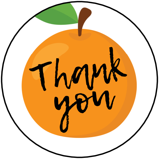 Tangerine Thank You party favor circle stickers