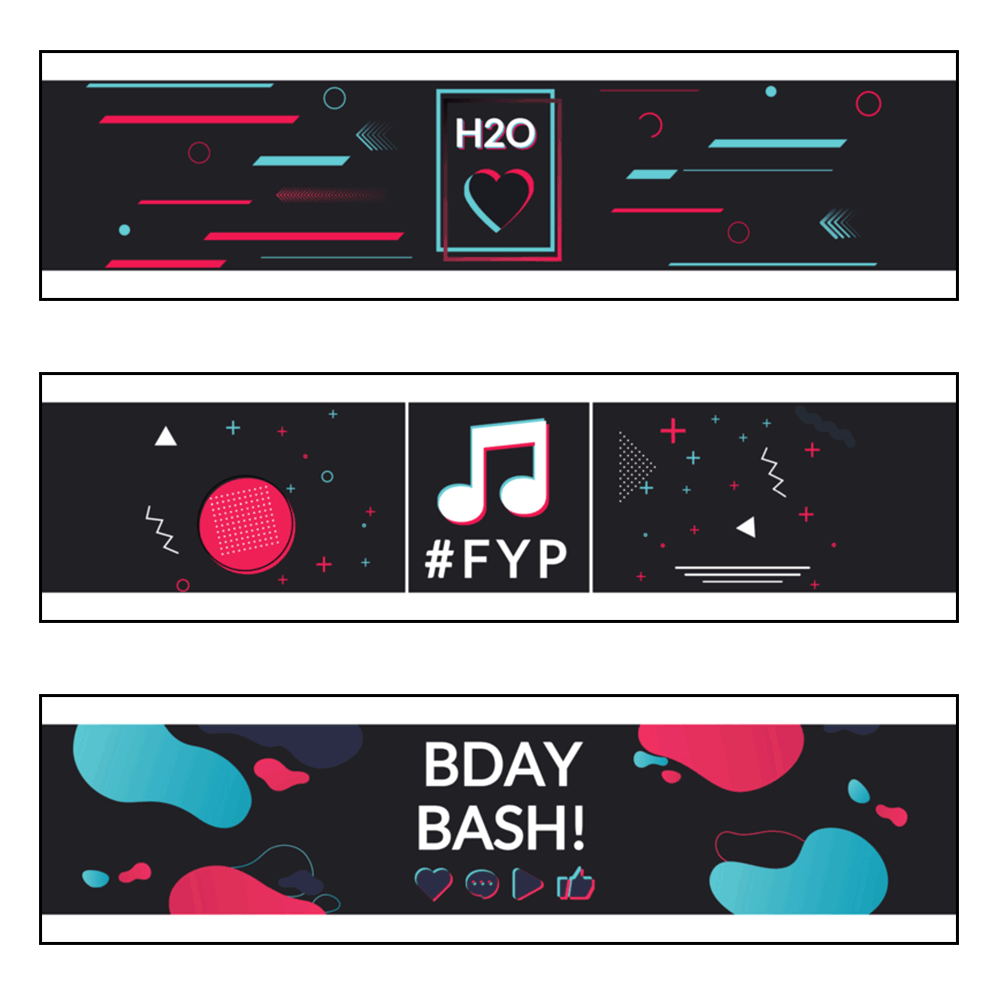 Black, pink, and blue TikTok themed water bottle labels