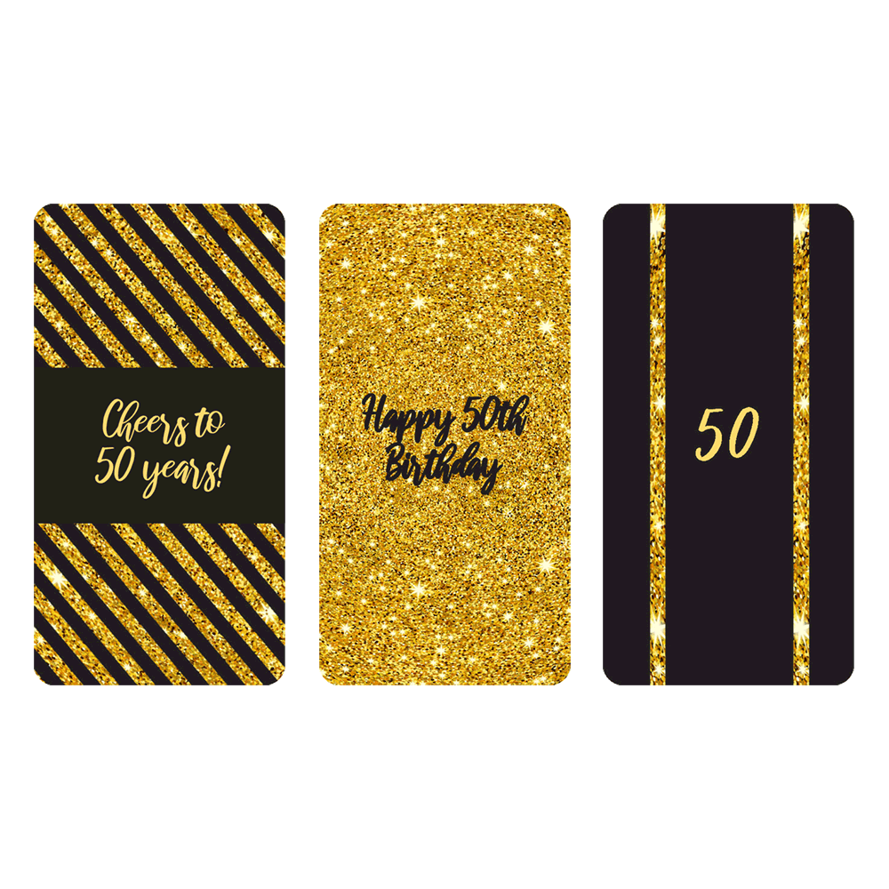 Black and gold 50th birthday party mini candy bar labels