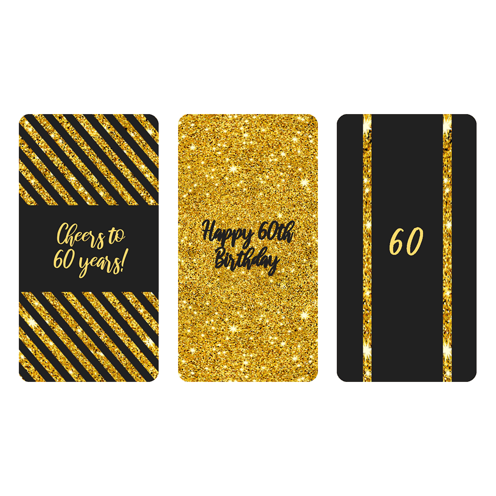 Black and gold 60th birthday party mini candy bar labels