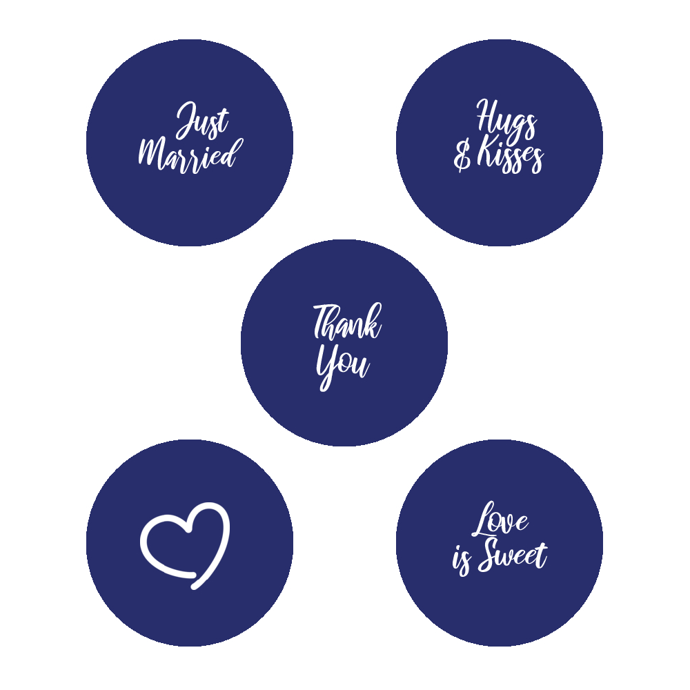 Blue and white script wedding stickers