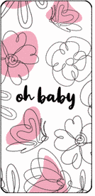 Light pink doodle design oh baby mini candy bar wrappers