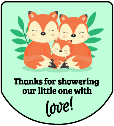 Fox family with mint green background hand sanitizer labels