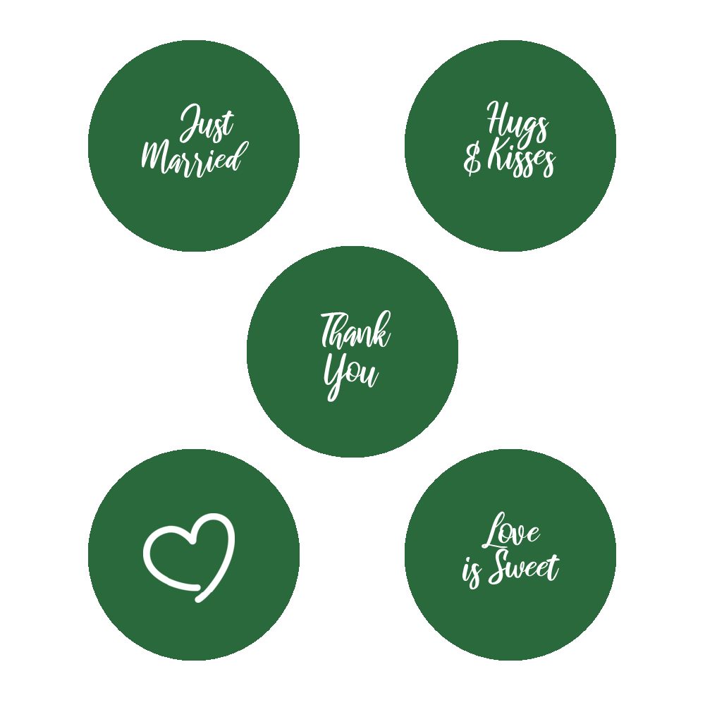 Green and white script wedding stickers
