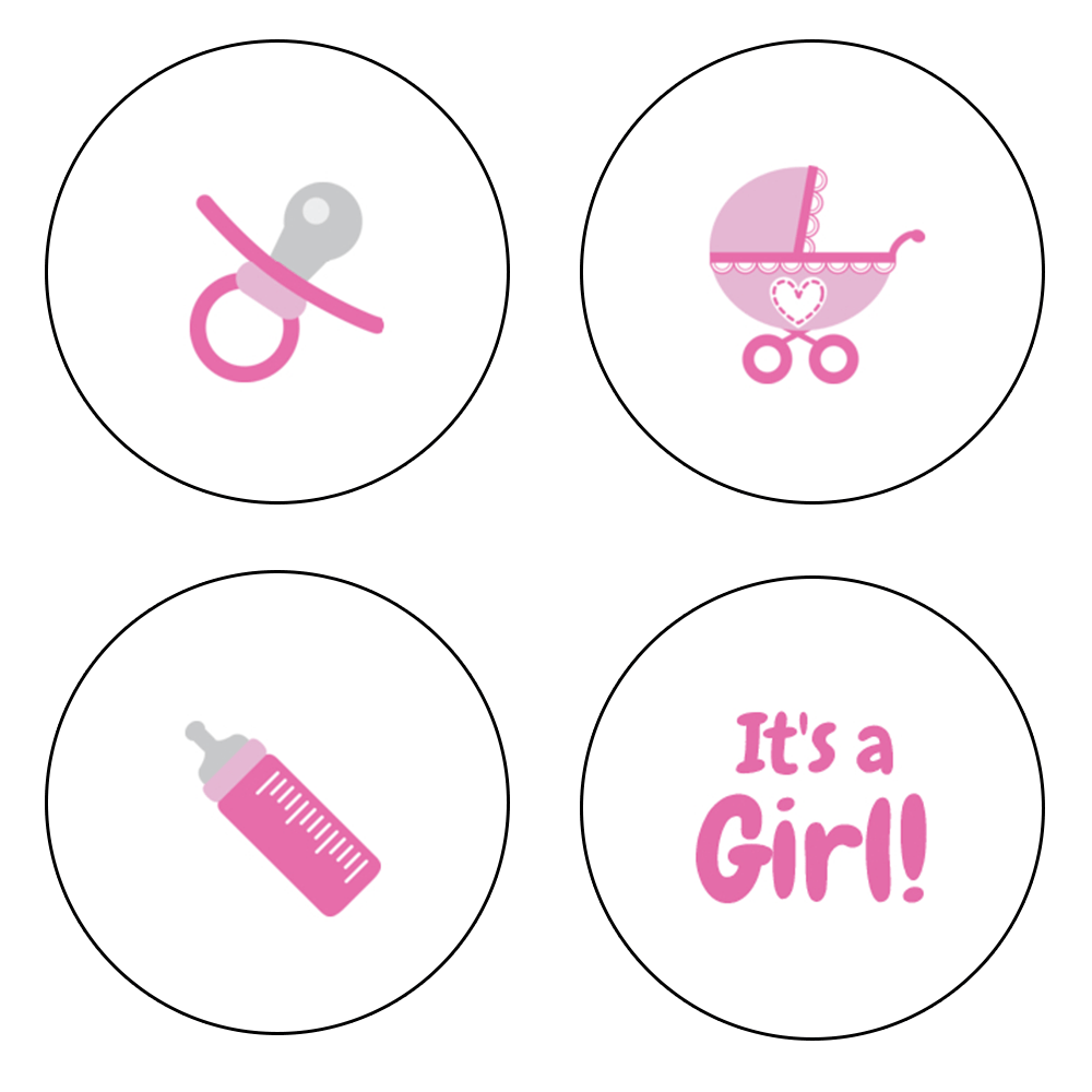Pink assorted baby icon Hershey's Kisses stickers. Pacifier, stroller, baby bottle