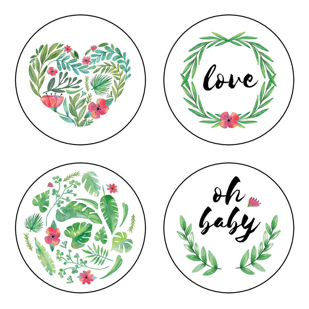 Assorted floral greenery stickers with love and oh baby phrases