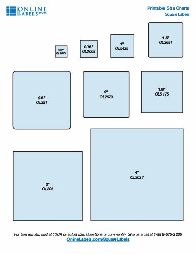 Popular sizes of square labels by OnlineLabels