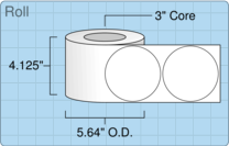 """Roll of 4"""" Circle  Inkjet  labels"""