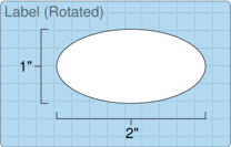 """Roll of 2"""" x 1"""" Oval  Inkjet  labels"""