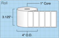 """3"""" x 1"""" Roll Labels - 1"""" Core / 4"""" Outer Diameter"""