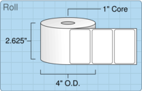 "2.5"" x 1.5"" Roll Labels - 1"" Core / 4"" Outer Diameter"