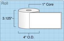 "3"" x 6"" Roll Labels - 1"" Core / 4"" Outer Diameter"