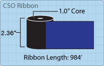 "Roll of 2.36"" x 984' ribbon"