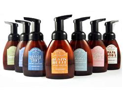 Arched Labels on Soap Bottles