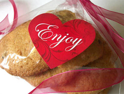 Printed Red Heart Label on Cookie Package