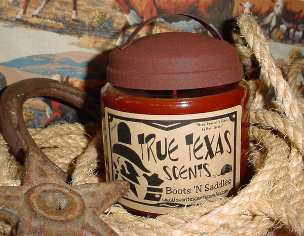 True Texas Scents Boots N Saddles Candle Label