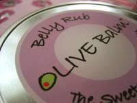 Raw Olive Belly Rub Balm Label