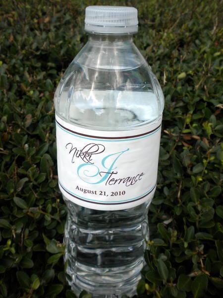 nikki  u0026 terrance wedding water bottle label