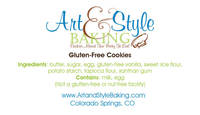 Art & Style Baking's Ingredients Label