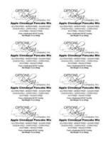OBC Apple Cinnamon Pancake Mix Labels