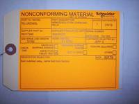 Nonconforming Material Tag Labels