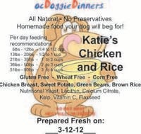 ocDoggieDinners Katie's Chicken and Rice Dinner Labels