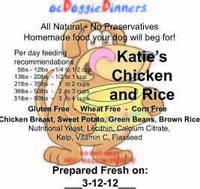ocDoggieDinners Katie's Chicken and Rice Dinner Labels