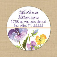 Purple & Gold Pansies Address Label